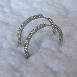 Pave Diamond Inside Out Hoop Earrings 18K White Gd